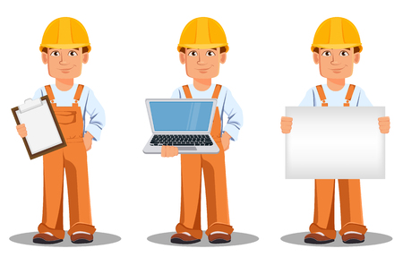 Handsome builder in uniform, cartoon character set. Professional construction worker. Smiling repairman holds checklist, holds laptop and holds placard. Vector illustration