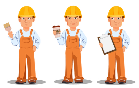 Handsome builder in uniform, cartoon character set. Professional construction worker. Smiling repairman holds paint brush, holds coffee and holds checklist. Vector illustration
