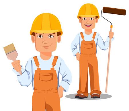 Handsome builder in uniform, cartoon character. Professional construction worker.