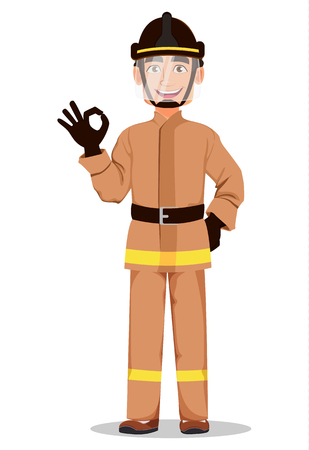Firefighter in professional uniform and safe helmet. Fireman cartoon character shows ok sign. Vector illustration on white background.  Illustration