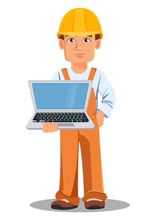 Handsome builder in uniform, cartoon character. Professional construction worker. Smiling repairman holds laptop. Vector illustration on white background. Illustration