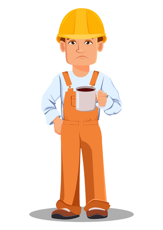Handsome builder in uniform, cartoon character. Professional construction worker. Tired repairman with a cup of coffee. Vector illustration on white background. Illustration