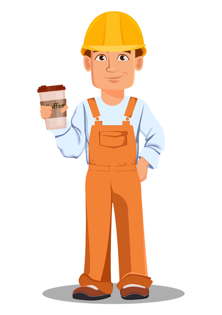 Handsome builder in uniform, cartoon character. Professional construction worker. Smiling repairman with a cup of coffee.