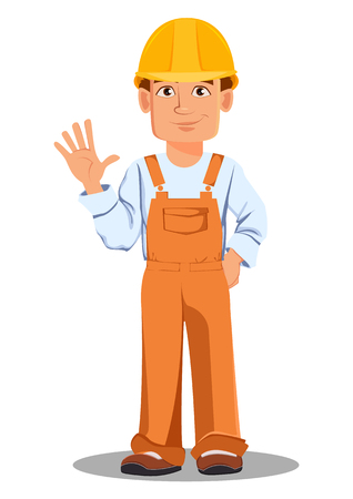 Handsome builder in uniform, cartoon character. Professional construction worker. Smiling repairman waves hand. Vector illustration on white background. Illustration