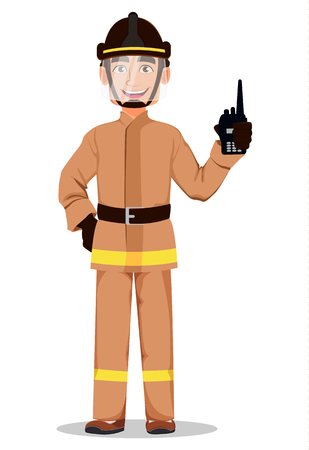 Firefighter in professional uniform and safe helmet. Fireman cartoon character holds portable radio set. Vector illustration on white background.