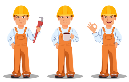 Handsome builder in uniform, cartoon character set. Professional construction worker. Smiling repairman holds wrench, holds coffee and shows ok sign. Vector illustration