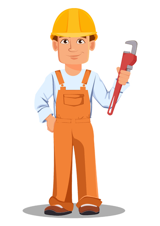 Handsome builder in uniform, cartoon character. Professional construction worker. Smiling repairman with adjustable wrench. Vector illustration on white background.