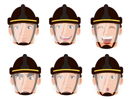 Espressioni facciali di vigile del fuoco in casco sicuro. Insieme di diverse emozioni. Pompiere bel personaggio dei cartoni animati. Illustrazione vettoriale isolato su sfondo bianco