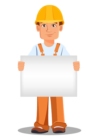 Handsome builder in uniform, cartoon character. Professional construction worker. Smiling repairman with a blank placard.