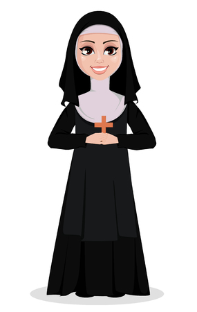 Nun cartoon character. Smiling catholic sister holds wooden cross. Vector illustration on white background.