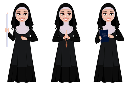 Nun cartoon character set. Smiling catholic sister holds burning candle, holds bible and stands with praying hands. Vector illustration on white background.