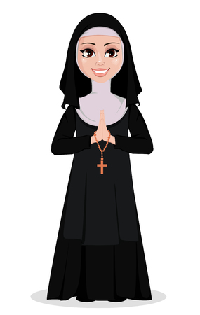 Nun cartoon character. Smiling catholic sister with praying hands and catholic rosary. Vector illustration on white background.