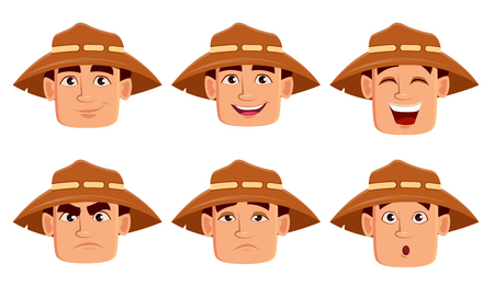 Face expressions of farmer in hat. Different male emotions set. Handsome cartoon character. Vector illustration isolated on white background.