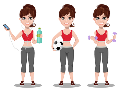 Beautiful woman in sport outfit, set of three poses. Cheerful fitness girl holding a bottle of water and listening to the music, holding ball and doing exercises with dumbbells. Vector illustration  Illustration
