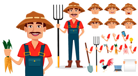 Farmer cartoon character creation set. Cheerful gardener, pack of body parts and emotions. Build your personal design. Vettoriali