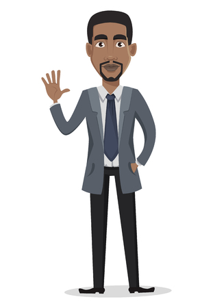 African American business man cartoon character. Businessman in office clothes waves hand. Vector illustration on white background Stock Illustratie