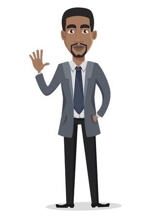 Afroamerikanergeschäftsmann-Zeichentrickfilm-Figur. Geschäftsmann in der Bürokleidungswellenhand. Vektorabbildung auf weißem Hintergrund Vektorgrafik