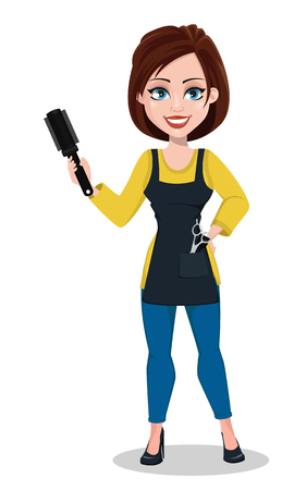 Hairdresser woman in professional uniform. Beautiful lady stylist cartoon character holds comb. Vector illustration on white background.