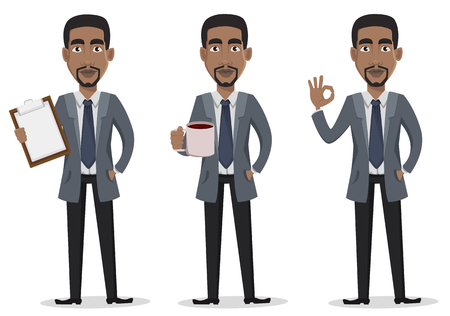 African American business man cartoon character set. Businessman in office clothes holds clipboard, holds a cup of coffee and shows ok sign. Vector illustration on white background Vectores