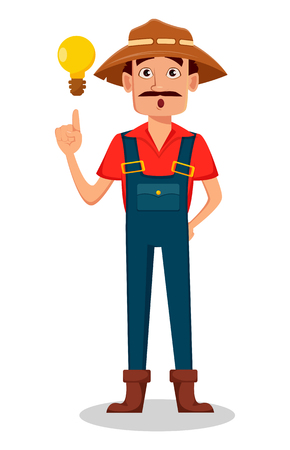 Farmer cartoon character. Gardener has a good idea. Vector illustration isolated on white background