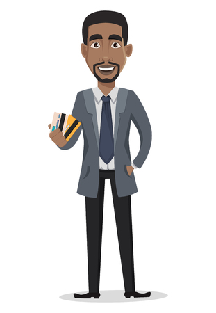 African American business man cartoon character. Businessman in office clothes holds credit cards. Vector illustration on white background