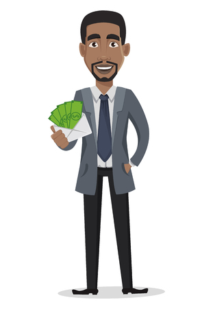 African American business man cartoon character. Businessman in office clothes holds envelope with money. Vector illustration on white background