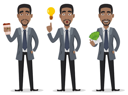 African American business man cartoon character set. Businessman in office clothes holds coffee, has a good idea and holds envelope with money. Vector illustration on white background.
