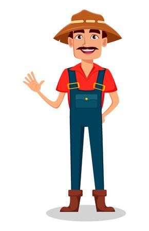 Farmer cartoon character. Cheerful gardener waves hand. Vector illustration isolated on white background Vetores