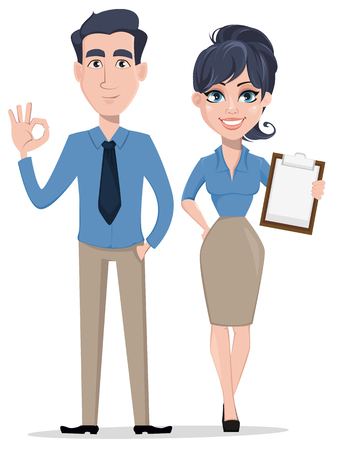 Business man shows ok sign and business woman holds checklist, cartoon characters. Smiling businessman and businesswoman in office clothes. Vector illustration isolated on white background.