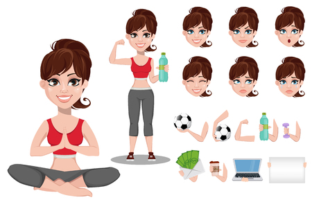 Beautiful woman in sport outfit, character creation set. Cheerful fitness girl, pack of body parts and emotions. Vector illustration Ilustração