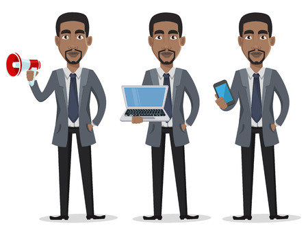 African American business man cartoon character set. Businessman in office clothes holds loudspeaker, holds laptop and holds smartphone. Vector illustration on white background