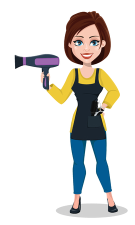 Hairdresser woman in professional uniform. Beautiful lady stylist cartoon character holds hairdryer. Vector illustration on white background.