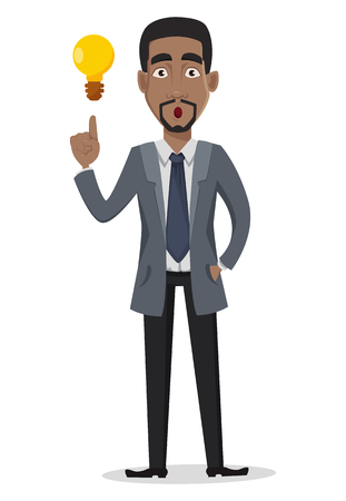 African American business man cartoon character. Businessman in office clothes has a good idea. Vector illustration on white background Stock Illustratie