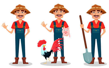 Farmer cartoon character set. Cheerful gardener waves hand, stands with farm animals and holds shovel. Vector illustration isolated on white background