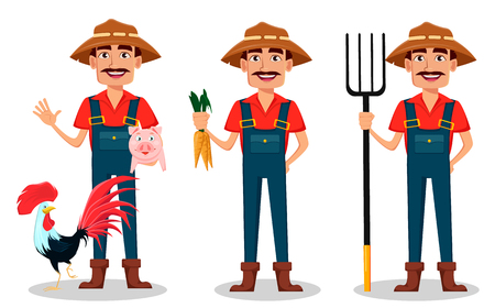 Farmer cartoon character set. Cheerful gardener stands with farm animals, holds carrots and holds pitchfork. Vector illustration isolated on white background