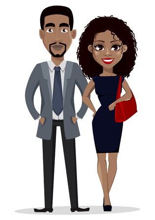 African American business man and business woman, cartoon characters. Smiling businessman and businesswoman in casual clothes. Vector illustration isolated on white background.