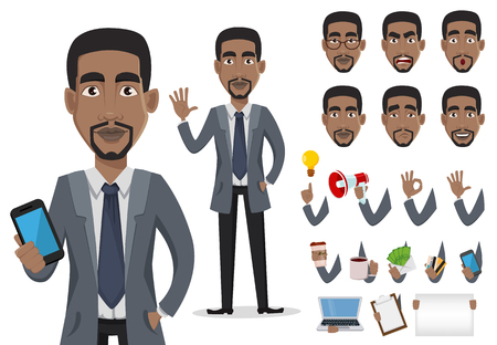 African American business man cartoon character creation set, pack of body parts and emotions. Smiling businessman in office clothes. Vector illustration.