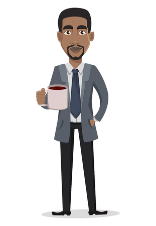 African American business man cartoon character. Businessman in office clothes holds a cup of hot drink. Vector illustration on white background