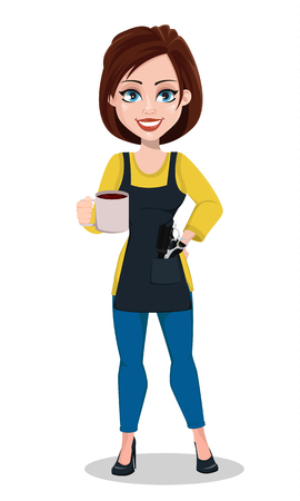 Hairdresser woman in professional uniform. Beautiful lady stylist cartoon character holds coffee. Vector illustration on white background.