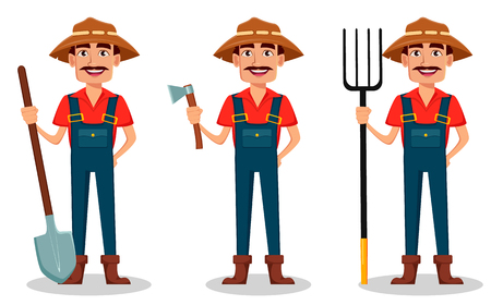Farmer cartoon character set. Cheerful gardener holds shovel, holds axe and holds pitchfork. Vector illustration isolated on white background Illustration