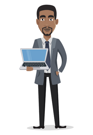 African American business man cartoon character. Businessman in office clothes holds laptop. Vector illustration on white background