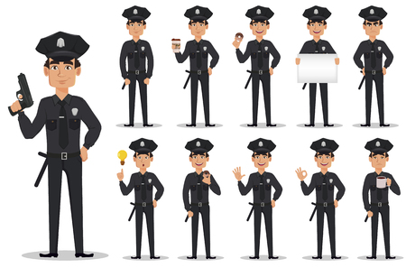 Police officer, policeman, set. Cartoon character cop. Vector illustration on white background