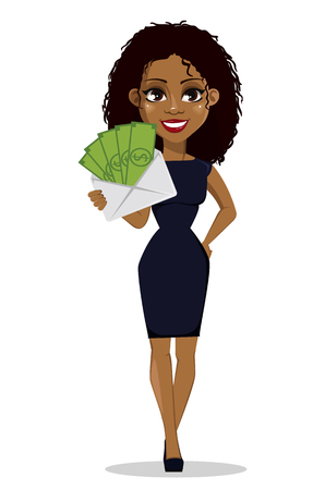 African American business woman cartoon character. Young beautiful businesswoman in smart casual clothes holding envelope with money. Vector illustration