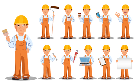 Handsome builder in uniform, cartoon character, set. Professional construction worker or repairman. Vector illustration on white background.