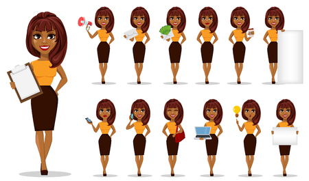 African American business woman cartoon character, set. Young beautiful businesswoman in smart casual clothes. Vector illustration Vettoriali