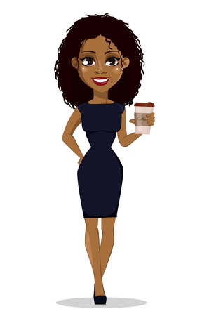 African American business woman cartoon character. Young beautiful businesswoman in smart casual clothes holding coffee. Vector illustration