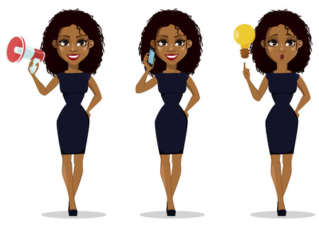 African American business woman cartoon character, set. Young beautiful businesswoman in smart casual clothes holding loudspeaker, holding smartphone and with a good idea. Vector illustration Vettoriali