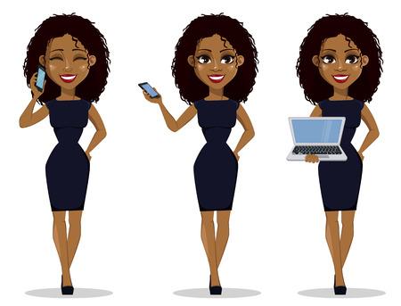 African American biznes kobieta postać z kreskówki, zestaw. Młoda piękna kobieta w inteligentnych ubrań, trzymając smartfon i trzymając laptopa. Ilustracji wektorowych