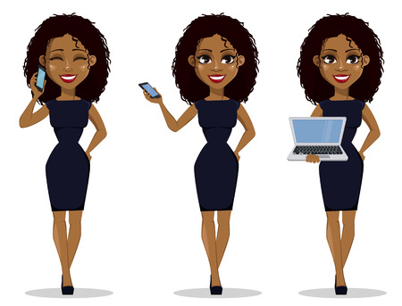 African American business woman cartoon character, set. Young beautiful businesswoman in smart casual clothes holding smartphone and holding laptop. Vector illustration Vettoriali