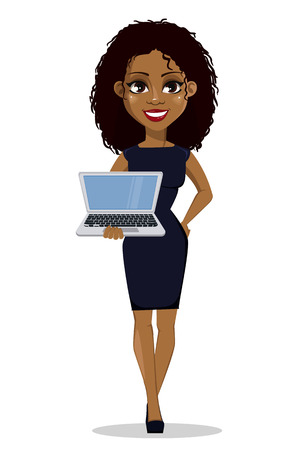 African American business woman cartoon character. Young beautiful businesswoman in smart casual clothes holding modern laptop. Vector illustration Vectores